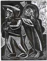Blind Musicians and Blak and White Woodcut by Irving Amen