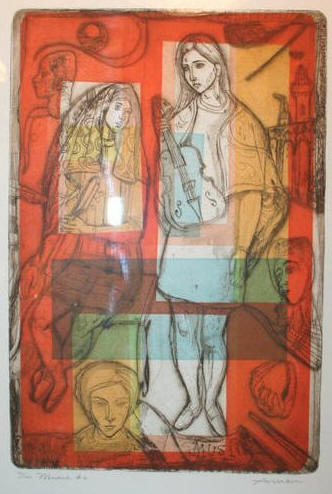 """Music #2"" by Irving Amen (American b1918), color etching of figures with guitar and other musical instruments. Numbered 72 of 200 edition.29.5"" x 21 Circa 1970."