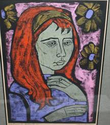 Pensive Girls #2 a Woodcut by Irving Amen Edition of 40