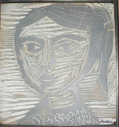 Young Girl Carved Painted Wood 9 1/2 x 9