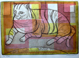Cat, an etching by Irving Amen