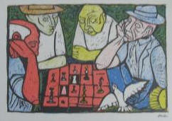 "Chess Game by Irving Amen 7 1/2"" x 5 1/2"""