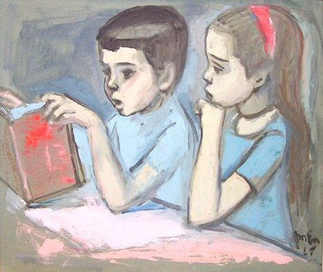 Children Reading, 20 X 24, Oil 1965 eBay chirstone