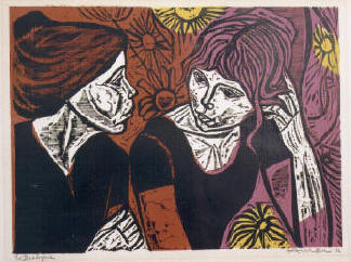 The Dialogue a woodcut by Irving Amen
