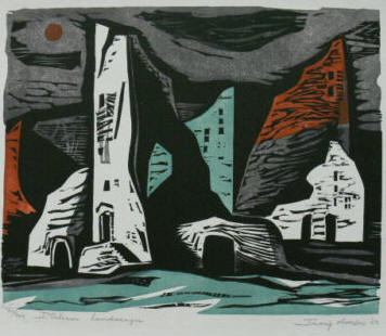 Italian Landscaper a woodcut by Irving Amen