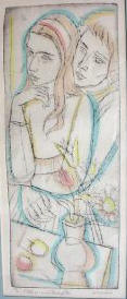 "Mother and Daughter 7 1/4"" X 19 1/2"" ed of 90 etching 1960's eBay 6/03"