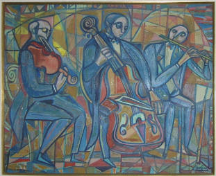 Musicians with Bass, Oil
