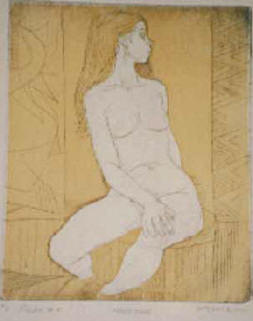 "Nude #8, 13 3/4""x16"" eBay 4/03 lithograph by Irving Amen"