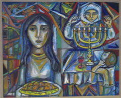 Sabbath with bread, menorah and old woman praying as a child watches