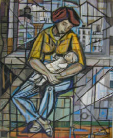 Woman with baby and city behind