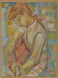 Young Girl with a Guitar a 1970 Oil by Irving Amen